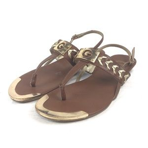 G By Guess Gold/Brown Sandals Size 7.5